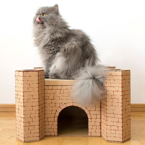 FlatCat Castle cardboard house with cardboard cat scratcher by FlatCatEu on Etsy