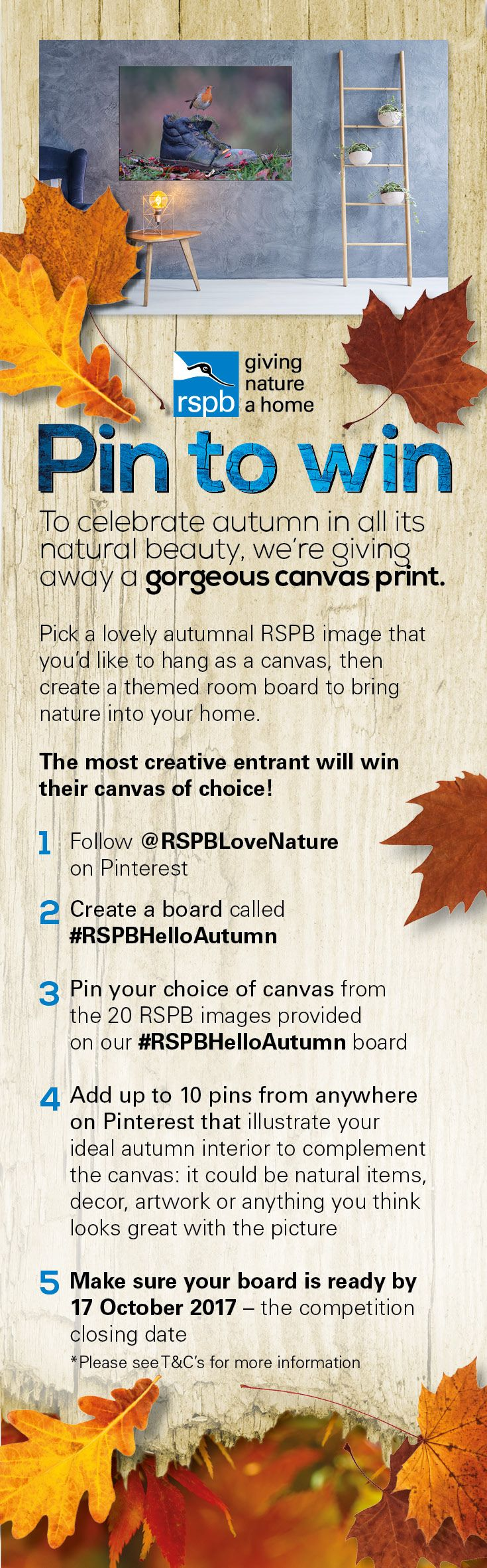 Pin to Win a gorgeous canvas print worth up to £200 – simply create a board called #RSPBHelloAutumn, pin your choice of canvas from the 20 autumnal images provided on our #RSPBHelloAutumn board and then add in 10 or more pins that illustrate your ideal autumn interior. Closing date 17/10/2017. 2017, Contest, Fun, Photography, Home Inspiration, Giveaway, Competition, Prizes, Autumn, Decor
