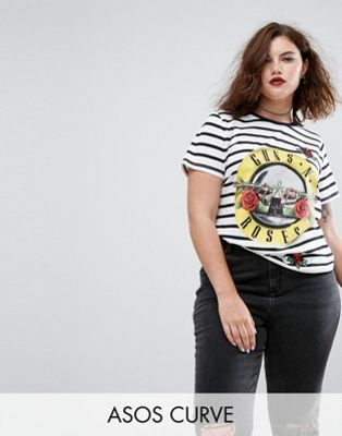 ASOS CURVE T-Shirt in Stripe with Guns N' Roses Print and Sequin Badges