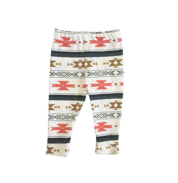 Coral aztec leggings, baby girl leggings, modern baby leggings, infant boy leggings, gender neutral leggings, baby