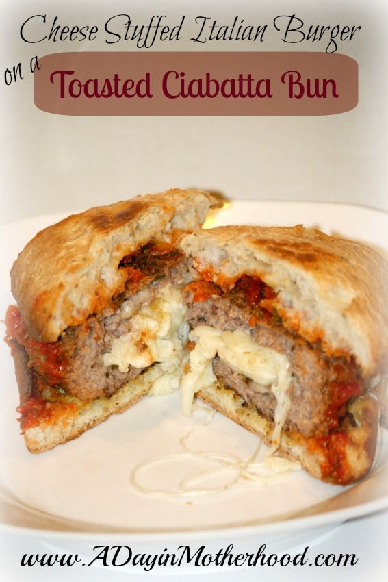 This Cheese Stuffed Italian Burger on a Toasted Ciabatta Bun is juicy and delicious! Sure to be a crowd-pleasing favorite!