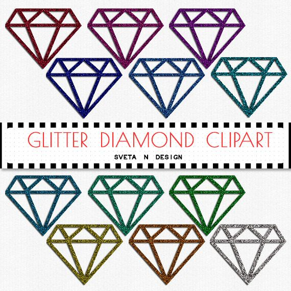 Glitter DIAMONDS Digital Clipart 12 psc PNG - Instant Download {glitter clipart, clip art, digital diamonds, diamonds clipart}