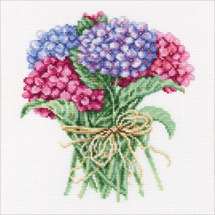 """Hydrangea Bouquet Counted Cross Stitch Kit-8""""X8.25"""" 14 Count"""