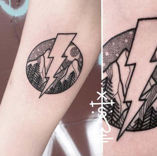 Lightning bolt forearm tattoo