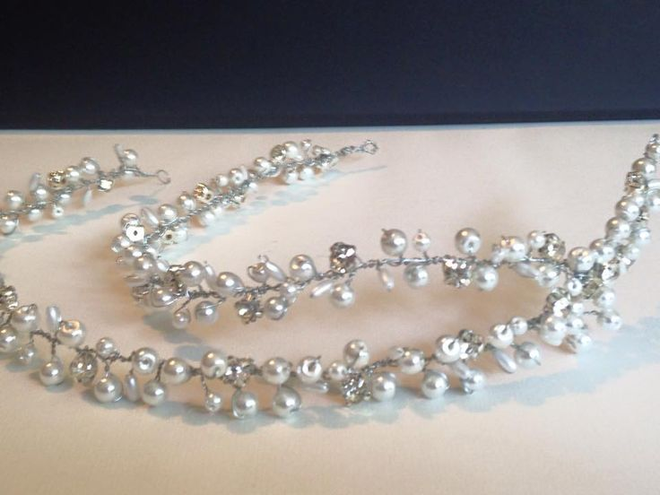 Pearl and  rhinestone bridal hair vine.