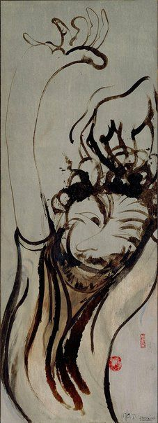 An image of Self portrait after three bottles of wine by Brett Whiteley 1971