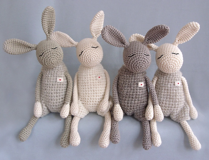 "cute knit stuffed animals Kleiner ""Heldhase"", Kuschelhase"