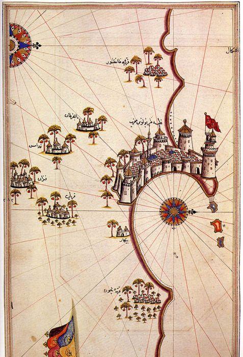 Piri Reis, Map of Tripoli, Libya, c. 1520 #libya #map
