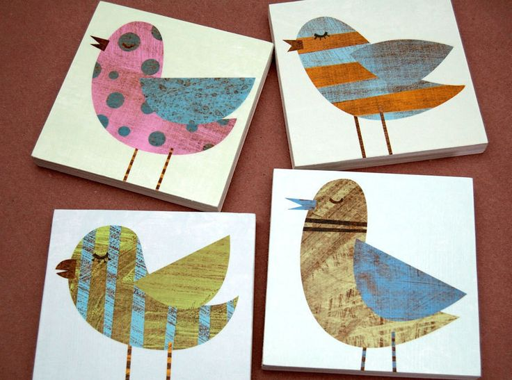 """Whimsical Bird Artwork - 4 images from my Collage Bird Series as a set of art blocks. All 4 of the images in the series are mounted on 3/4"""" Birch plywood. I use salvaged wood when I can find it. Image"""
