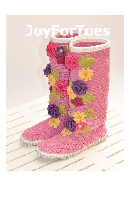 Crochet Boots for the Street Violet Spring Boots by JoyForToes, €106.00