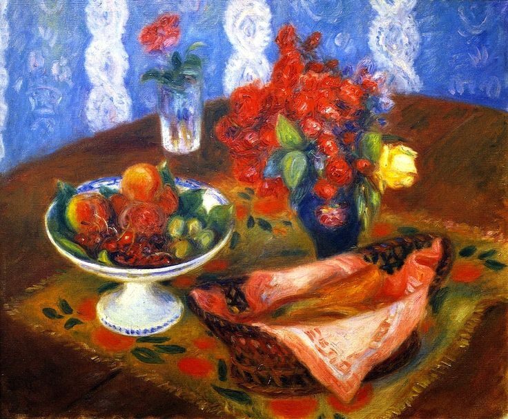 William James Glackens (American, 1870-1938)   - c1924 Still Life with Roses and Fruit
