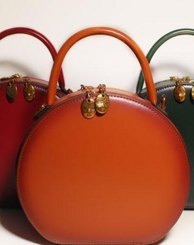 Handmade Leather Handbag Shoulder Bag Round Circle For Women Crossbody Unusualleatherhandbags