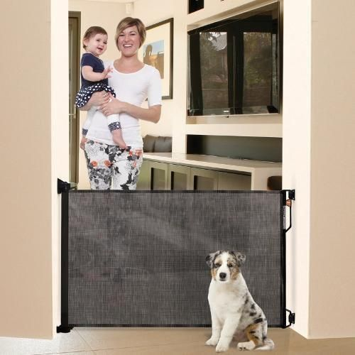 Bindaboo Retractable Fabric Dog Barrier Gate. Durable Mesh Dog Gate openings up to 55 inches. Easy one hand operation. Provides widest opening. Color: Black