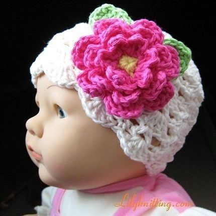 PATTERN – Crocheted Pretty Flapper Beanie with a large flower — Flapper Beanie 34 « Lilyknitting – Patterns and Crochet