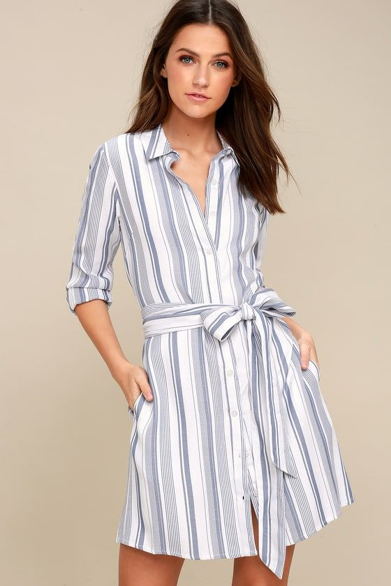 e275d74e5396a6 When it comes to style, you mean business, so slip into the Chic Executive  Blue and White Striped Shirt Dress and show them who's boss!