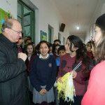 El Obispo fue recibido con mucho entusiasmo por la comunidad educativa del Colegio Fasta