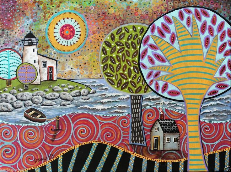 Lighthouse 16x12 inch House Boat ORIGINAL Canvas PAINTING FOLK ART Karla Gerard..just added to store, for sale now...