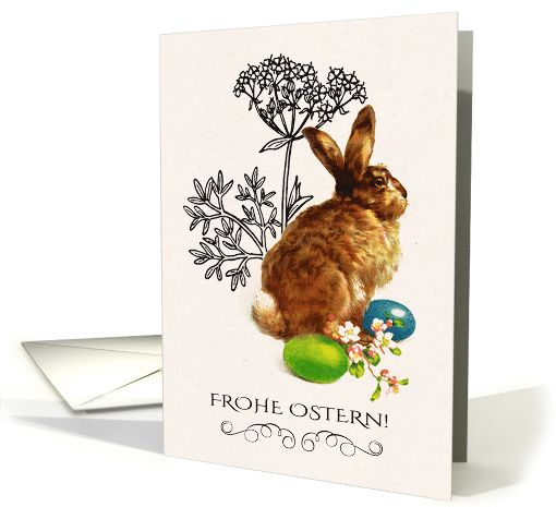 Frohe Ostern. Vintage Bunny design personalized Easter Greeting Cards in German. at greetingcarduniverse.com