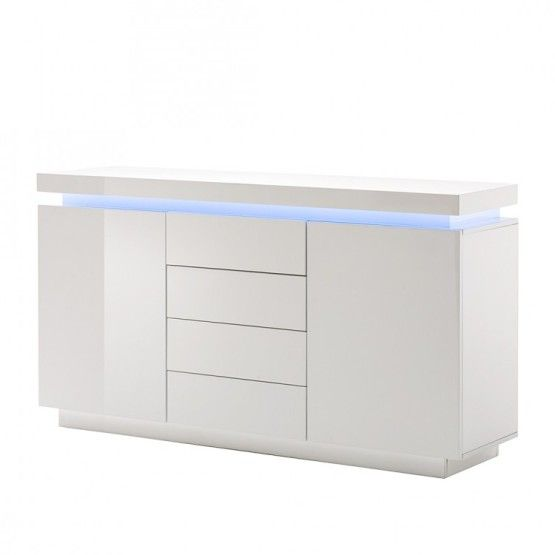 Odessa Sideboard 4 Drawer In High Gloss White With Led