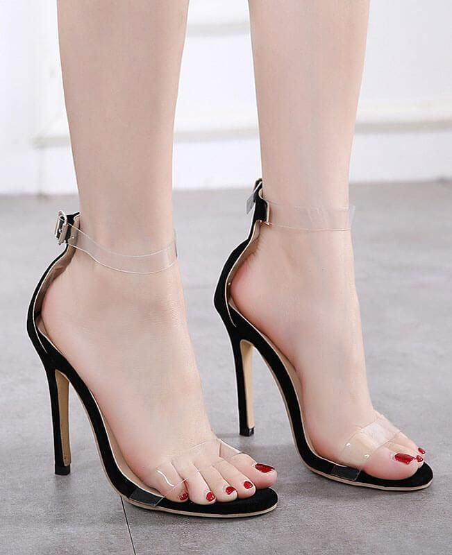 Black Ankle Strap Style 13cm High Heel Sandals Platforms Pole Dance Model Shoes 5 Inch Cover Heel Womens Shoes Attractive And Durable Other