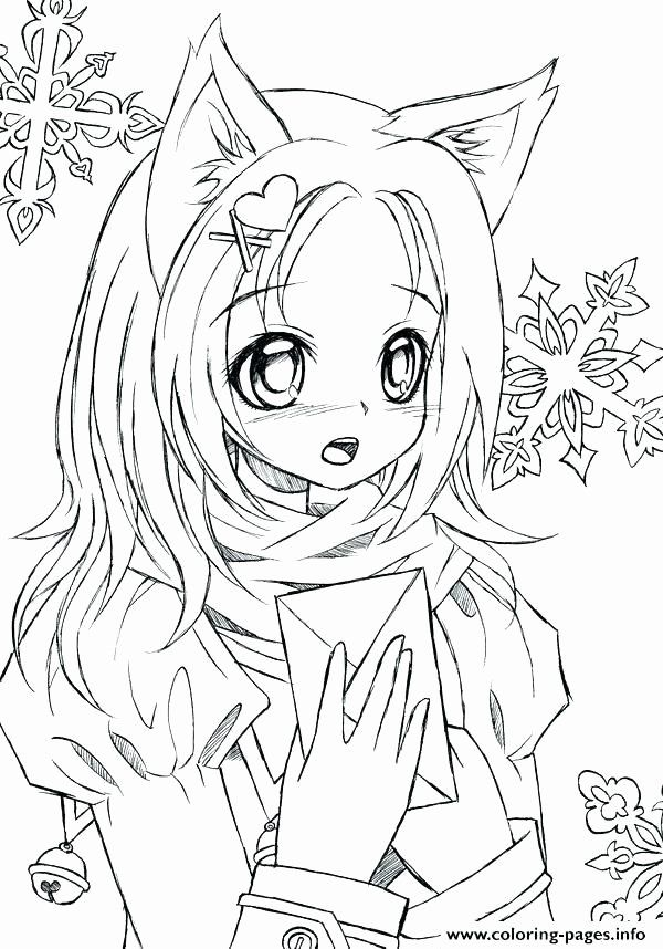 Anime New Coloring Lovely Cute Girl Anime Coloring Pages Free