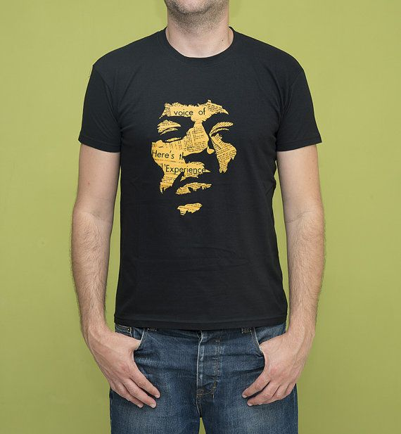 Jimi T-Shirt Mustard on Black Silkscreen Hand by ClothMothTshirts