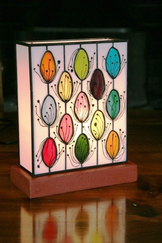"Contemporary lamp ""Pollen"" Tiffany stained glass"