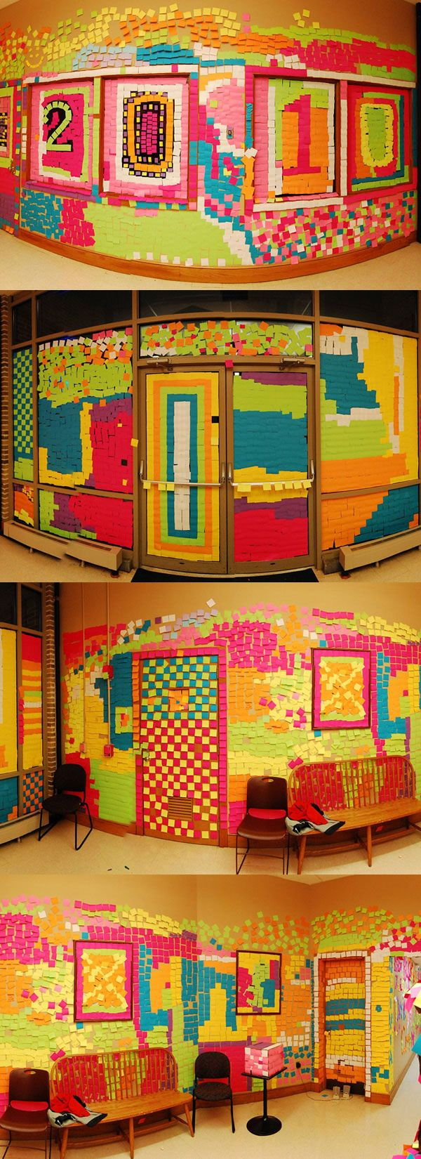 The Most Creative Post-It Note Prank Ever ... it's a mosaic! .... http://www.bitrebels.com/geek/the-most-creative-post-it-note-prank-ever/