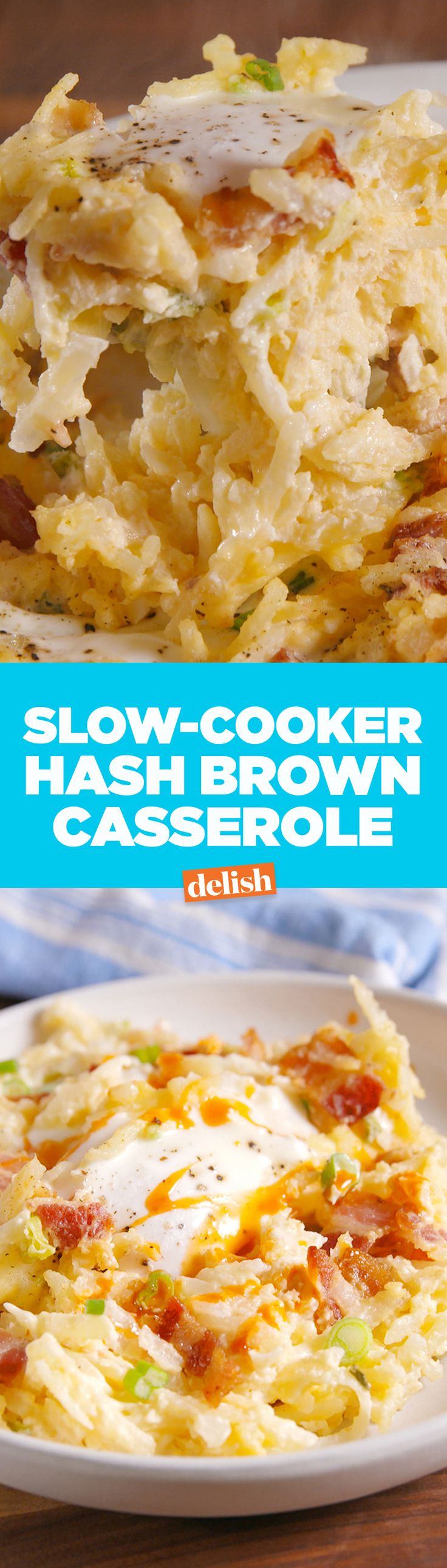 Cracker Barrel fans are going to freak out over this Slow-Cooker Hash Brown Casserole. Get the recipe on Delish.com.
