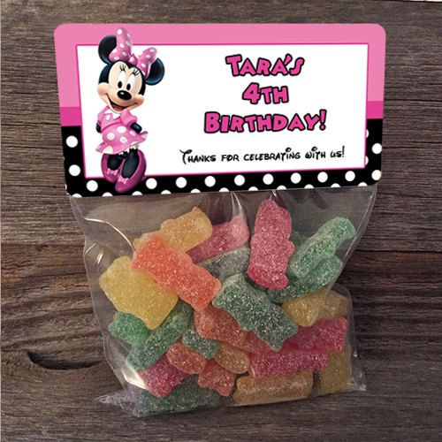 20 30 40 50 Minnie Mouse Birthday Treat Bags Stickers and Bags Included School Class Party Favor by PartiesR4Fun on Etsy