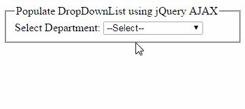 jQuery AJAX JSON example to bind DropDownList dynamically from Sql server database  http://www.webcodeexpert.com/2014/12/jquery-ajax-to-bind-aspnet-dropdownlist.html