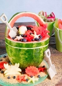 """Beach Basket Materials Needed:                                                                                             1 watermelon – can be seeded or seedless    Cutting board    Kitchen and paring knives    Green dry erase marker    Large bowl and spoon    Melon baller    Beach theme cookie cutters    Instructions    Wash the watermelon under cool running water and pat dry.    Placing the watermelon on its side cut off the bottom end ¼"""" – ½"""" so that it can stand flat on its end.  Be caref: Fruit Salad, Fruit Bowls, Beaches Party, Watermelon Baskets, Food Idea, Summer Party, Party Idea, Beaches Themed, Party Food"""