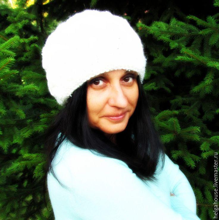 Купить Шапка-бини женская вязаная (белая) - шапка, шапка вязаная, шапка женская