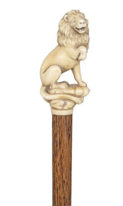 64. English Ivory Lion Cane-Ca. 1890-Ivory lion carved : Lot 64