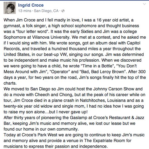In 1985, more than 10 years after her first husband, singer/songerwriter Jim Croce died in a plane crash, Ingrid Croce sought space for rent in downtown San Diego's Gaslamp Quarter. Description from sandiegoville.com. I searched for this on bing.com/images