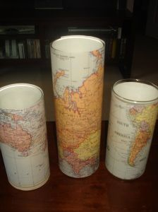 world map centerpieces. be pretty with a candle. Light of the World! What?!? :D