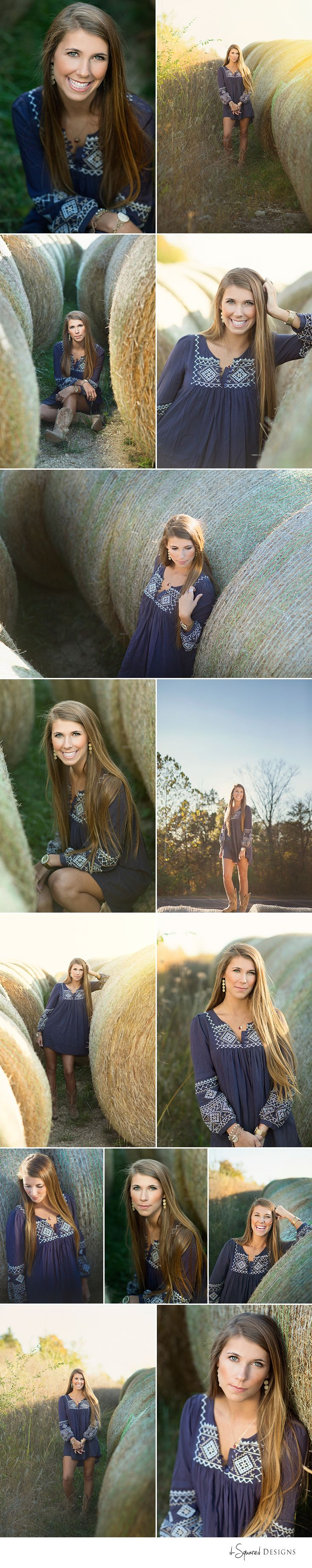 d-Squared Designs St. Louis, MO Senior Photography. Farm senior session. Hay-bails. Gorgeous senior.