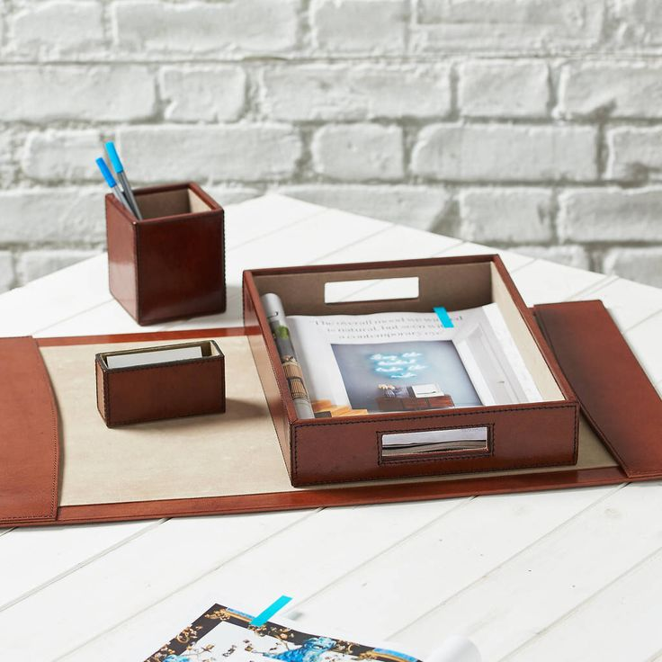 I've just found Personalised Deluxe Leather Desk Set Complete. Make room on your desktop (not the mechanical kind) for this handsome leather desk accessories set.. £199.00