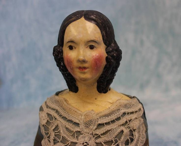 "20"" Antique Paper Mache Doll 1845 1850 Milliners Model Spaniel Ringlet Curls BUN 