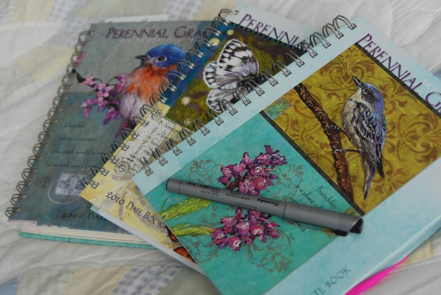 My Date Books turned Garden Journals from the past three years.    Some really good tips....some I have never thought of....
