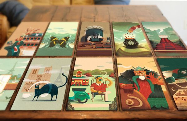 Packaging - Coffee Illustration Labels by Charlie Davis, via Behance