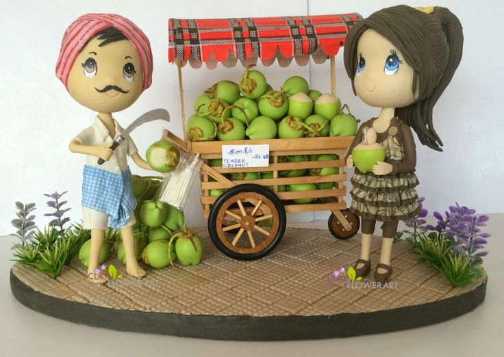 Cuties with Tender Coconuts | Clay Flower Art