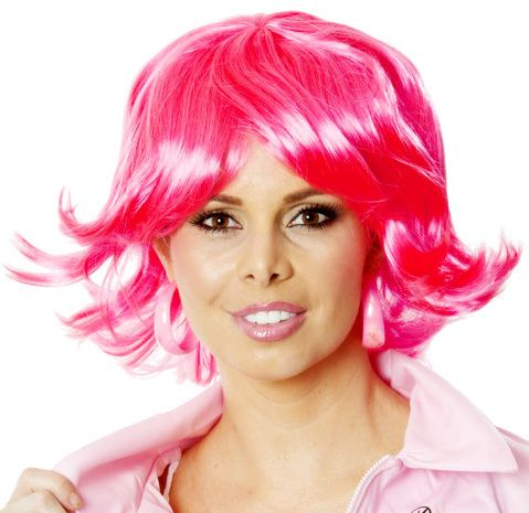 Hot Pink Short Flick Ladies Costume Wig (Grease Frenchie) HIGH QUALITY CLASSIC HOT PINK SHORT FLICK COSTUME WIG   This pink short flick costume wig is the perfect way to complete your Frenchie Pink Ladies Costume!  Also makes great pink wigs for a disco costume or pop star costume!  The high quality fibre is so amazingly soft and sits beautifully around your head and face.www.thewigoutlet.com.au