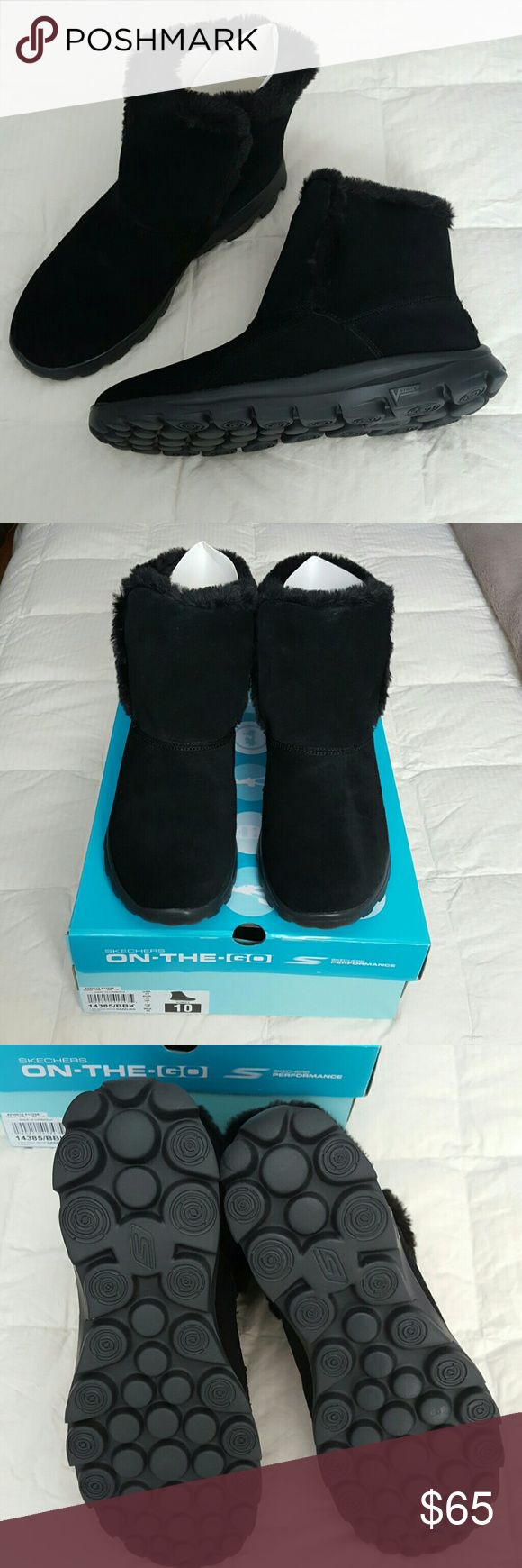 "SKECHERS ON-THE-GO ""GO WALK"" BOOTS SIZE 10 BNIB SKECHERS FAUX FUR WITH REAL SUEDE UPPER GO WALK BOOTS IN THE STYLE ""DAZZLING"", COLOR IS BLACK, IN A WOMEN'S SIZE 10.  PURCHASED THESE LESS THAN 1 WEEK AGO HOPING THE SIZE 10 WOULD FIT ME LIKE THE OTHER SKECHERS DO BUT THEY ARE 1/2 SIZE TOO BIG FOR MY FOOT.  I NORMALLY WEAR A 9-9.5 BUT THEY WERE SOLD OUT OF MY SIZE.   PERFECT JUST IN TIME FOR CHRISTMAS & THE CHILLY WINTER :) Skechers Shoes Ankle Boots & Booties"