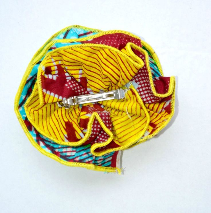 Yellow Hair Bow- Yellow And Blue Hair Bow - Ankara Fabric Hair Bows by Zabba Designs - African Print Brooch