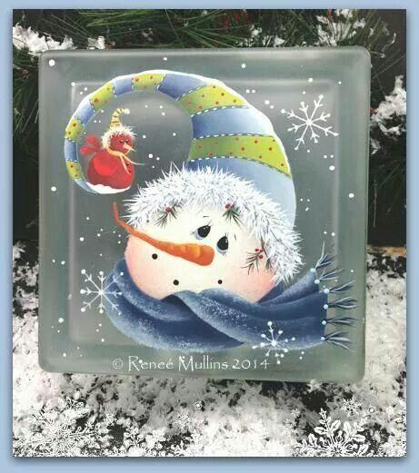 Snowman on glass block.renee mullins