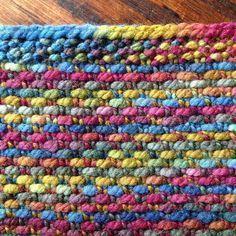Loom knit linen stitch cowl.
