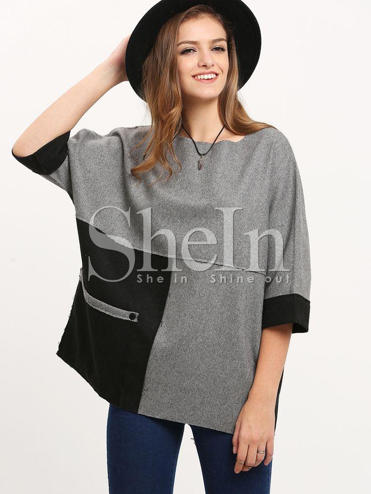 Sweat-shirt color-block avec poches -gris-French SheIn(Sheinside)