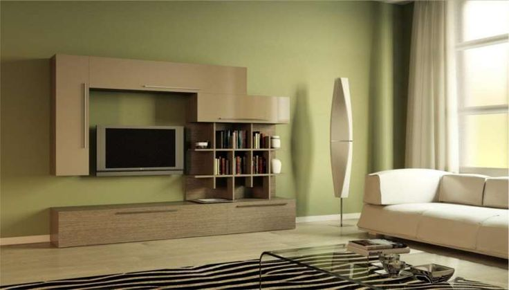 Colori giusti per imbiancare la casa - Parete verde in salotto
