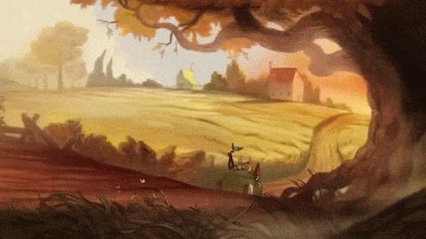 Tome of the Unknown - Background Appreciation over the garden wall tome of the unknown otgw wirt greg beatrice art animation cartoon cartoons cn cartoon network background goose crows scenery forest